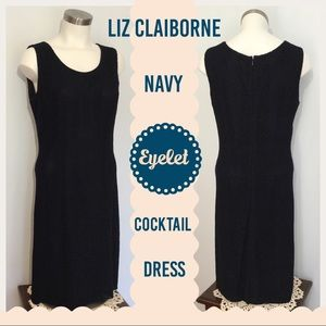 Liz Claiborne Navy Blue Eyelet Dress Sleeveless 12